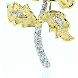 David Webb 18K Yellow Gold Diamond Gemstone Large Flower Brooch Pin