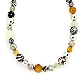 """David Yurman Element All Around 925 Silver & Gems Beaded Necklace Paper 36""""L"""