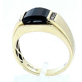 10k Yellow Gold Onyx Diamond Men's Ring Size 10.5