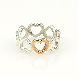 Tiffany & Co. Sterling 18k Rose Gold 7mm Open Hearts Band Ring Size 4.75
