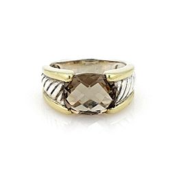 David Yurman Smokey Quartz Sterling 18k YGold Cable Band Ring Size 6.75