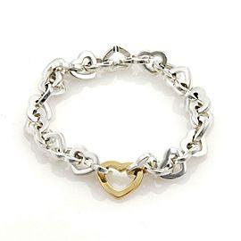 Tiffany & Co. Classic 925 Silver & 18k Yellow Gold Heart Link Bracelet 2001