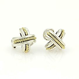 Tiffany & Co. X Crossover Sterling Silver 18k Yellow Gold Clip On Earrings
