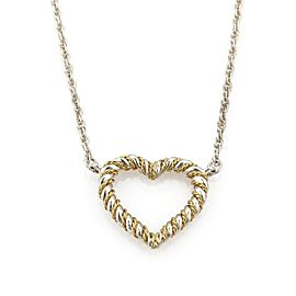 Tiffany & Co. 925 Sterling 18k Yellow Gold Twisted Heart Pendant Necklace