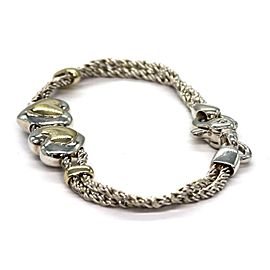 Tiffany & Co. Sterling 18k YGold Double Hearts Charms Rope Chain Bracelet