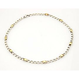 """Tiffany & Co. Sterling Silver & 18k Yellow Gold Curb Link Chain Necklace 17.5""""L"""