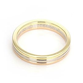 Cartier 18k Tricolor Gold 3.5mm Triple Stack Band Ring Size 52-US 6