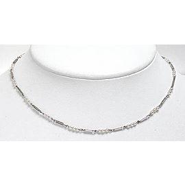 Antique Platinum 14k Gold & Pearl Fancy Design Fob Link Necklace