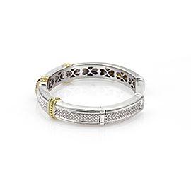 Judith Ripka 1.1ct Diamond & Amethyst Sterling 18k YGold Cuff Bangle Bracelet