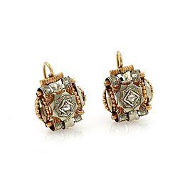 Retro Rose Cut Diamond 14k Two Tone Gold Dangle Earrings