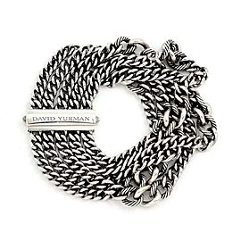 David Yurman Sterling Silver Multi-Strand Curb Cable Link Chain Bracelet