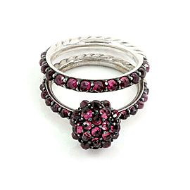 David Yurman Osetra Cable Berries Rhodalite Garnet 925 Silver Band Ring Set