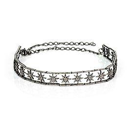 Victorian Style 5.50ct Diamond 925 Dark Silver Stars Bar Link Choker Necklace