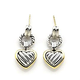 David Yurman Sterling Silver 18k Yellow Gold Dangle Cable Heart Earrings