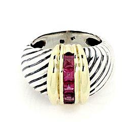 David Yurman Amethyst 925 Silver 14k Yellow Gold Cable Dome Band Ring
