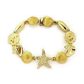 Vintage Diamond 18k Yellow Gold Under The Sea 11 Shell Link Bracelet