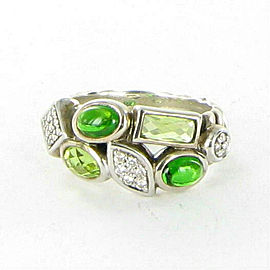 David Yurman Confetti Diamond Ring 0.16cts Tourmaline Prasiolite 925 Size 7