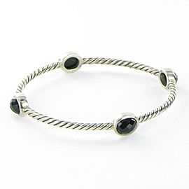 David Yurman Black Onyx Cable Bangle Bracelet 10x8mm Sterling Silver