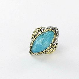 Konstantino Iliada Chrysocolla Doublet Ring 18K Yellow Gold Sterling Silver sz 7