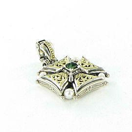 Konstantino Hestia Cross Enhancer Pendant Sterling 18K Green Tourmaline Pearl