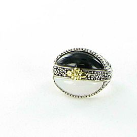 Konstantino Thetis Black White Agate Oval Ring Sterling Silver 18k Gold Sz 7