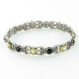 Konstantino Nykta Pearl and Black Onyx Bangle Bracelet Slip On Sterling 18K Gold