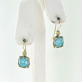 Konstantino Iliada Drop Earrings Chrysocolla Doublet Sterling 18K Gold Wire