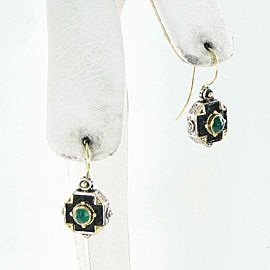 Konstantino Nemesis Square Petite Earrings Enamel Green Agate Sterling 18K Wire
