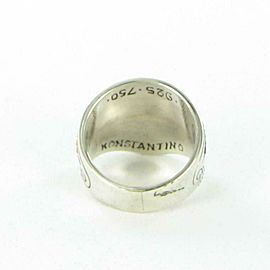 Konstantino Hebe Swirl Crown Etched Ring Sterling Silver 18K Yellow Gold Sz 7