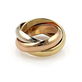 Cartier Trinity 18k Tricolor Gold 4.5mm Rolling Band Ring Size EU 48-US 4.5