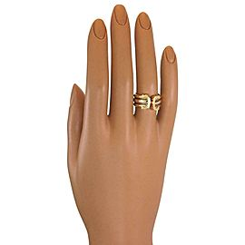 Cartier Double C 18k Tri-Color Gold Cuff Band Ring Size 51-US 5.5 w/Cert.