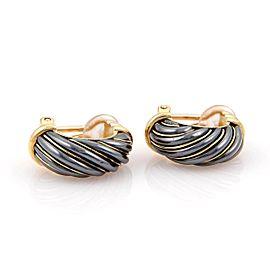 Cartier 18K Yellow Gold Fancy Hematite Huggie Clip On Earrings