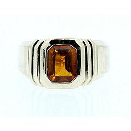 14k Yellow Gold Orange Citrine Size 9.25 Men's Ring