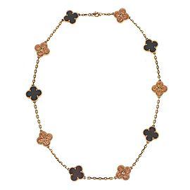 Van Cleef & Arpels Bois D'Amourette Letter Wood 18k Gold Alhambra Necklace