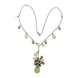 18K White Gold with Briolette Quartz & Citrine Bead 3-D Necklace