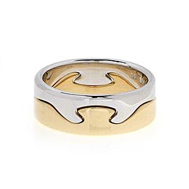 Georg Jensen Fusion 18k White & Yellow Gold Puzzle Band Ring Size 8.75