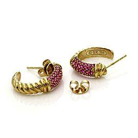 David Yurman 1 Carat Pink Sapphire 18k Yellow Gold Small Hoop Earrings