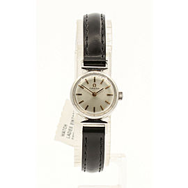 Ladies Vintage OMEGA Stainless Steel Rose Gold Markers Watch on Leather Strap