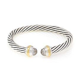 David Yurman Diamond 925 Silver 18k Yellow Gold 6.5mm Cable Cuff Bracelet