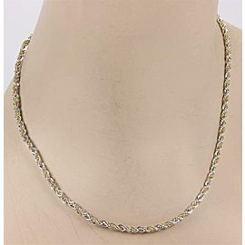 Tiffany & Co. 925 Sterling 18k Yellow Gold 3mm Rope Chain Necklace