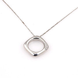 Tiffany & Co. Italy 18K White Gold Diamond Designer Pendant Necklace