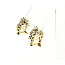 Beautiful 1.80ct Diamonds 18k Yellow Gold Floral Post Clip Earrings