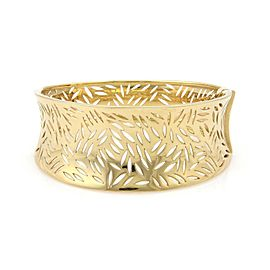 Estate 18k Yellow Gold Cut Out Leaves Wide Contour Design Bangle/Bracelet
