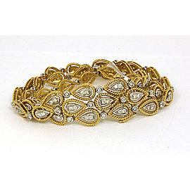 NEW 2.32ct Diamonds 18k Two Tone Gold 3 Rows Pear Shape Link Bracelet
