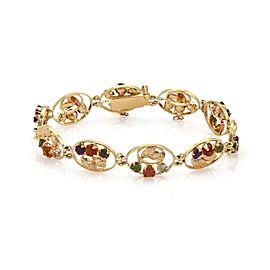 021394 Vintage Multi-Color Gemstones 18k Yellow Gold Floral Oval Link Bracelet