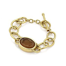 Elegant Citrine Intaglia 18k Yellow Gold Chain Bracelet Toggle Clasp