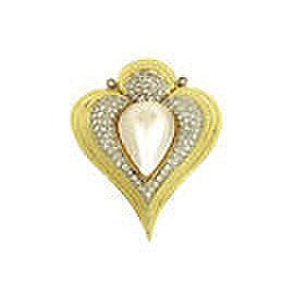 Gorgeous 1.75ct Diamonds & Mabe Pearl 14k Gold Fancy Heart Shaped Pendant