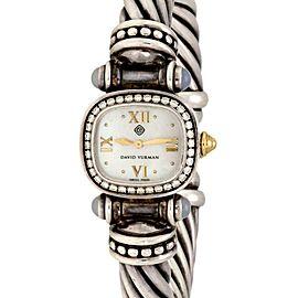 David Yurman Diamond & Gems 925 Silver 14k Gold Cable Ladies Watch Quartz