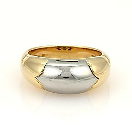 Bulgari Bvlgari Tronchetto 18k Yellow Gold & Steel Band Ring Size 5.5