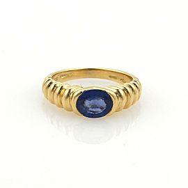 Bulgari Bvlgari 1ct Sapphire & 18k Yellow Gold Ribbed Design Ring Size 5.25